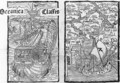 Drawing of the Santa Maria and a map describing the islands of Salvador, Espanola, Fernanda, Isabel and Conception, 1493 - (after) Columbus, Christopher