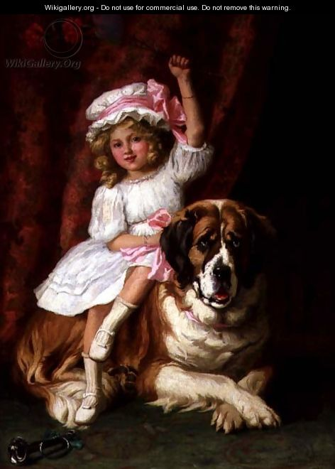A young girl on the back of a St. Bernard Dog, 1909 - Margaret Collyer