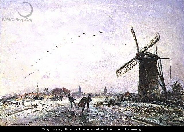 Ice-Skaters in Holland, 1872 - Johan Barthold Jongkind