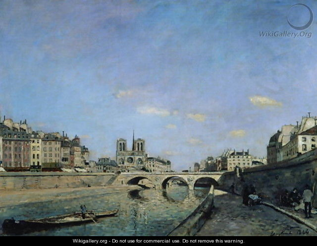 The Seine and Notre Dame in Paris, 1864 - Johan Barthold Jongkind