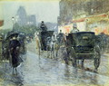 Horse Drawn Cabs at Evening, New York, c.1890 - Childe Hassam