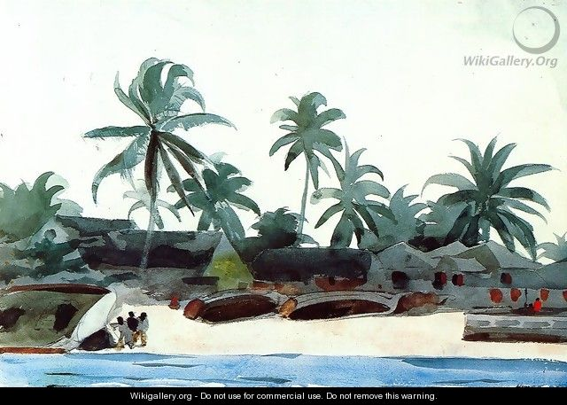 Negro Cabins and Palms - Winslow Homer