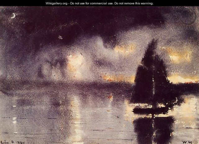 Sailboat and Fourth of July Fireworks - Winslow Homer