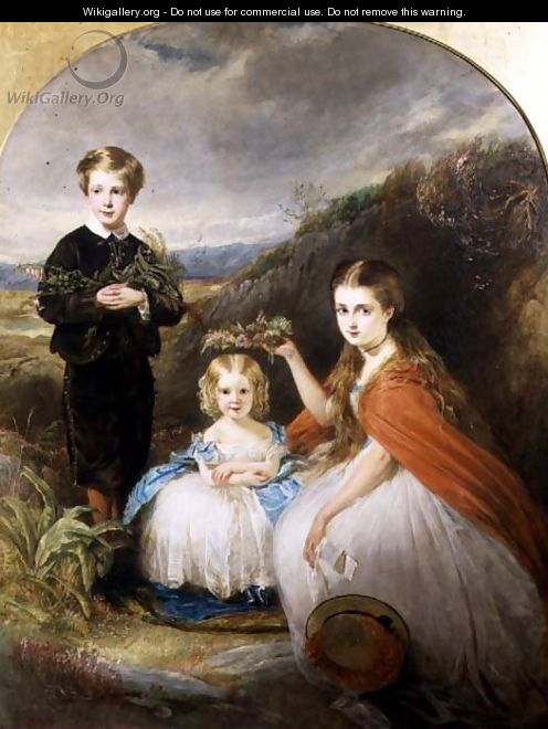 Portrait of the Middleton Children: Jessie Caroline Colla, Alfred Harold and Alice Edith 1864 - William Crawford