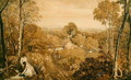 Wooded landscape with cottages and countrywomen, Hurley, Berks, 1818 - Joshua Cristall