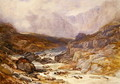 Welsh Mountain Scene with Torrential River - David Y. Cox