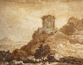 Landscape with a ruined temple, c.1756 - Alexander Cozens