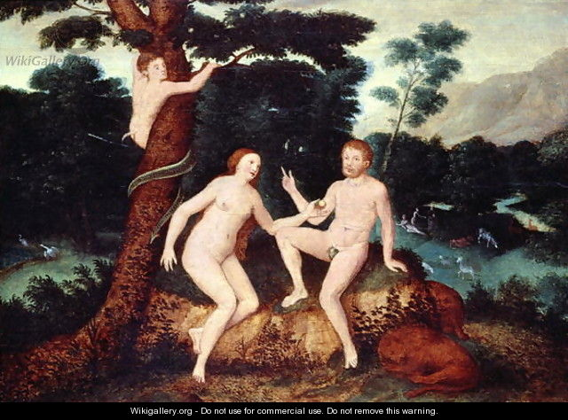 Adam and Eve in the Garden of Eden - Anonymous Artist