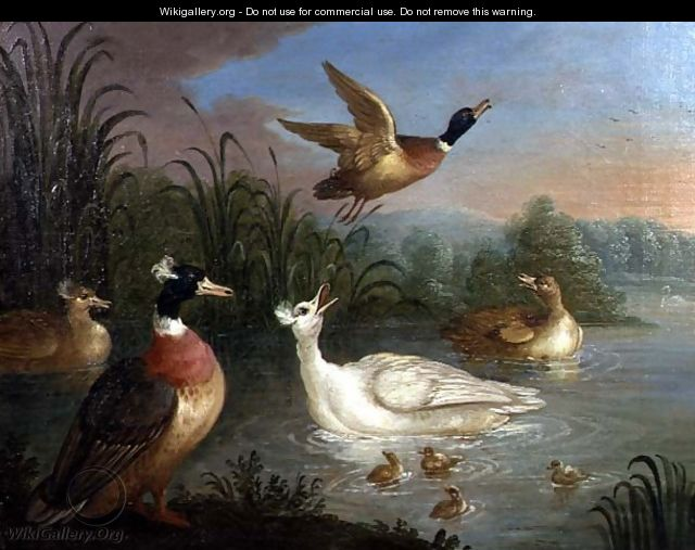 Ducks on a River Landscape - Marmaduke Craddock