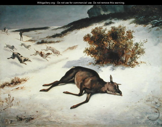 Hind Forced Down in the Snow, 1866 - (attr. to) Courbet, Gustave (1819-1877)