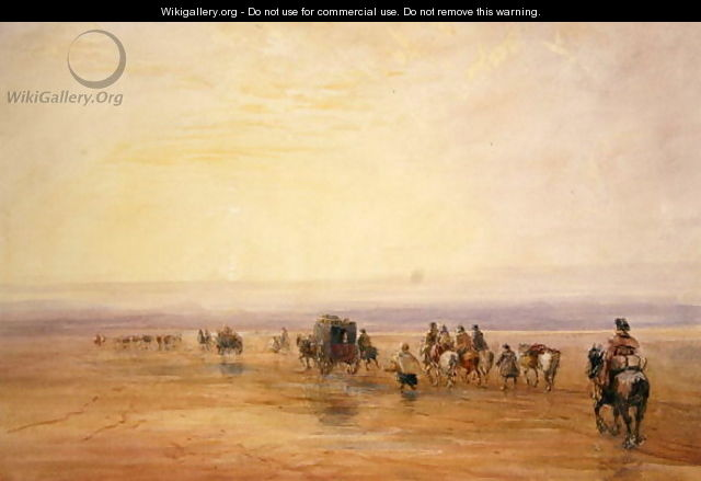 On Lancaster Sands, Sunset (Crossing Lancaster Sands) c.1835 - David Cox