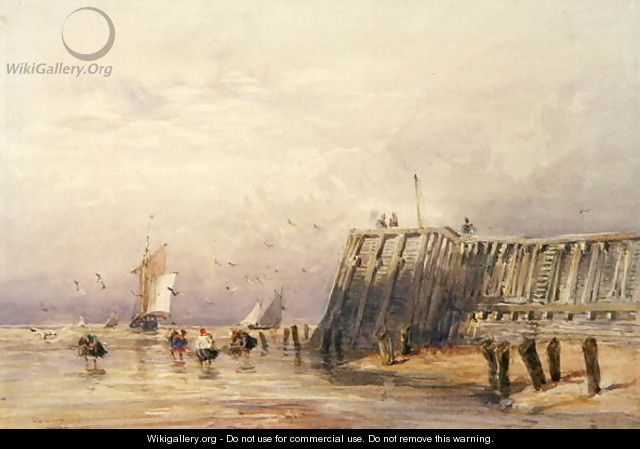 Seascape with Sailing Barges and Figures Wading Off-Shore, 1832 - David Cox