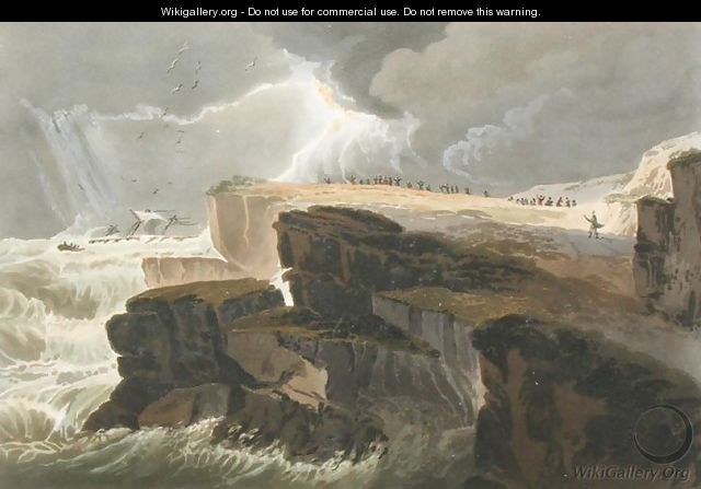 Plate from Book 10 Storm, View on the Coast of Hastings from A Treatise on Landscape Painting - David Cox