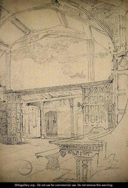 Interior of the Great Hall, Little Moreton Hall, Cheshire - John Sell Cotman