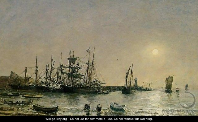 Portrieux, Boats at Anchor in Port - Eugène Boudin
