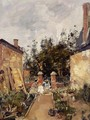 Madame S with Her Children in Their Garden at Trouville - Eugène Boudin