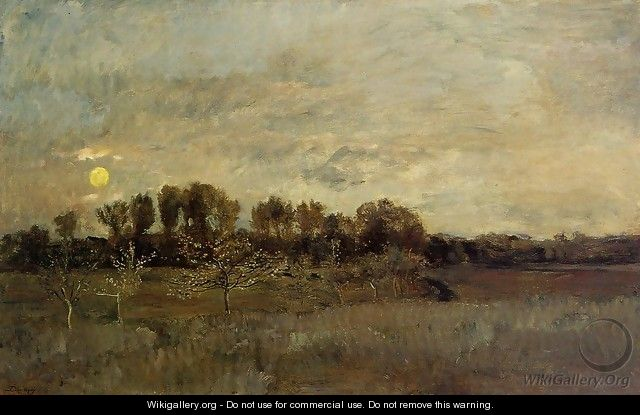 The Orchard at Sunset - Charles-Francois Daubigny