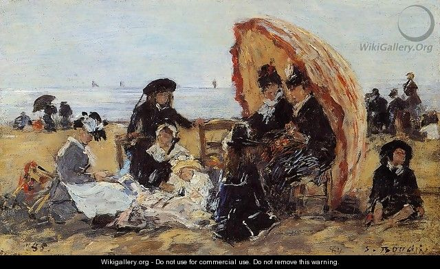 Trouville, on the Beach Sheltered by a Parasol - Eugène Boudin