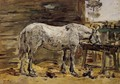 White Horse at the Feeding Trough - Eugène Boudin