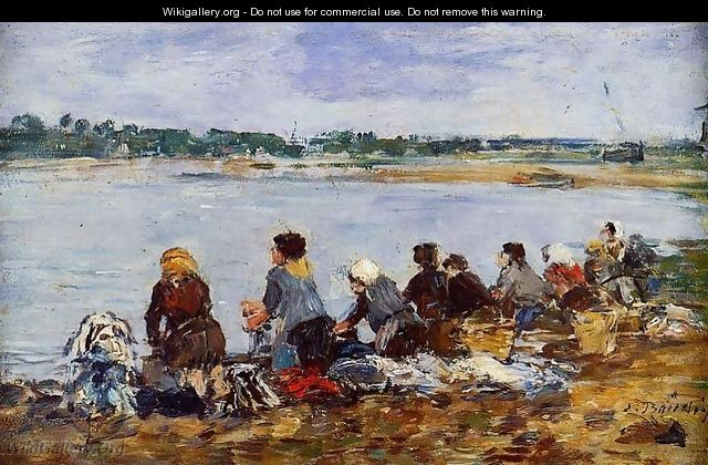 Laundresses on the Banks of the Touques IX - Eugène Boudin