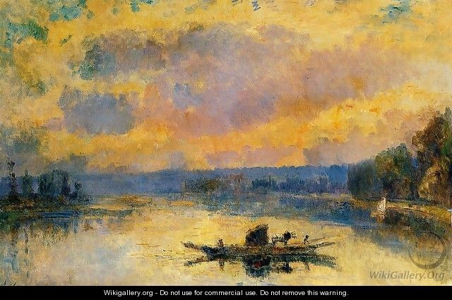 The Ferry at Bouille, Sunset - Albert Lebourg