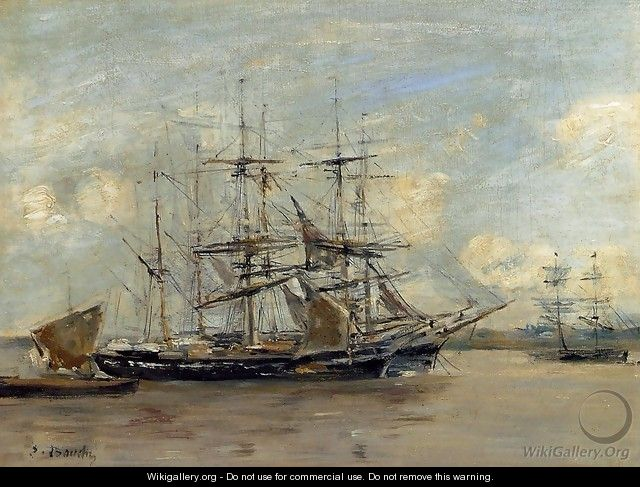 Le Havre, Three Master at Anchor in the Harbor - Eugène Boudin