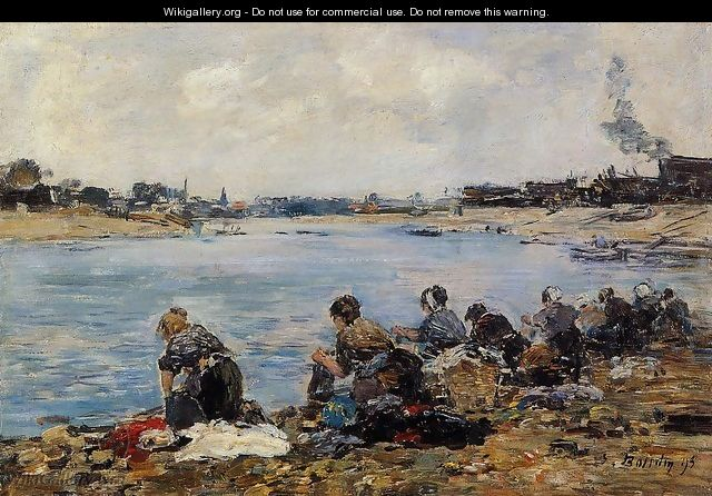 Laundresses on the Banks of the Touques V - Eugène Boudin