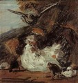 A Hen and Her Chicks (after Melchior d'Hondecoeter) - Eugène Boudin