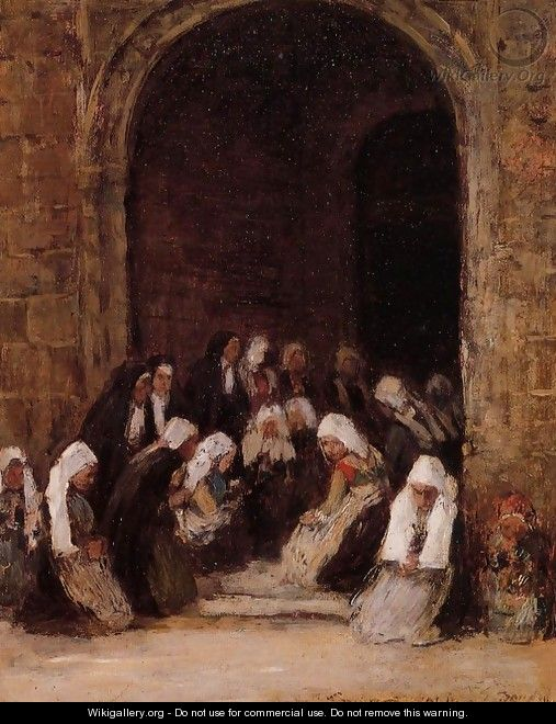 Leaving Mass in Brittany - Eugène Boudin