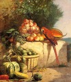 Fruit and Vegetables with a Parrot - Eugène Boudin