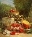 Flowers and Fruit in a Garden - Eugène Boudin