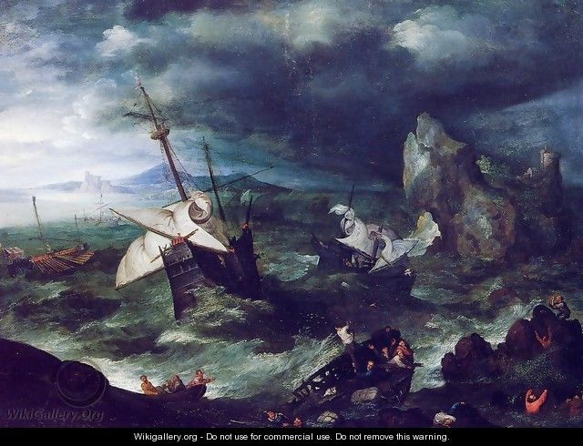 The Storm at Sea with Shipwreck - Jan The Elder Brueghel