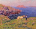 Cliff at Quesant with Horse - Henri Moret