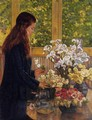Young Girl with a Vase of Flowers - Theo van Rysselberghe