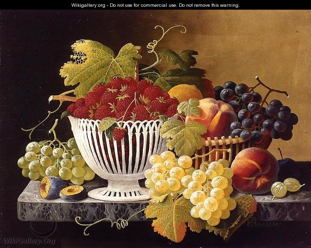 Still Life with Strawberry Basket - Severin Roesen