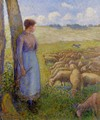 Shepherdess and Sheep - Camille Pissarro