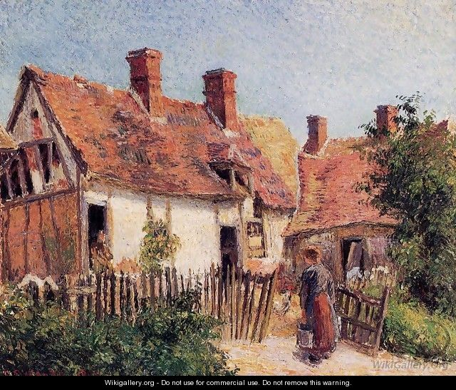 Old Houses at Eragny - Camille Pissarro