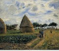 Peasants and Hay Stacks - Camille Pissarro