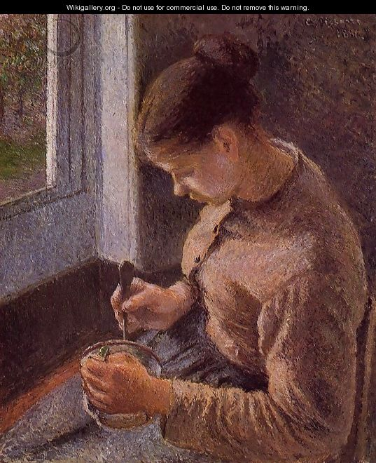 Breakfast, Young Peasant Woman Taking Her Coffee - Camille Pissarro