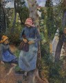 Two Young Peasants Chatting under the Trees - Camille Pissarro
