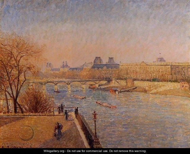 The Louvre: Winter Sunshine, Morning - Camille Pissarro