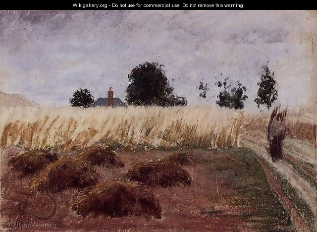 Peasant Woman on a Country Road - Camille Pissarro