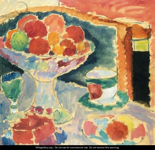 Still Life with Fruit Stand, Bohemian Glass and Empire Cup - Alexei Jawlensky