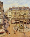 Rue Saint-Honore: Morning Sun Effect, Place du Theatre Francais - Camille Pissarro