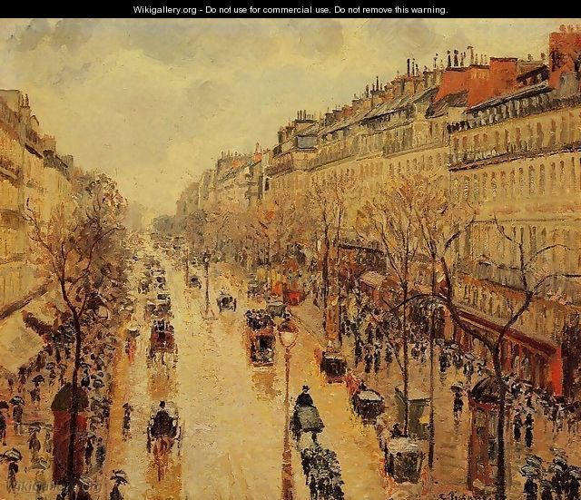 Boulevard Montmartre: Afternoon, in the Rain - Camille Pissarro