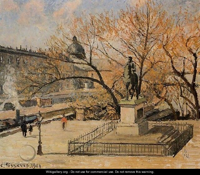 The Pont-Neuf, Statue of Henri IV: Morning, Sun - Camille Pissarro
