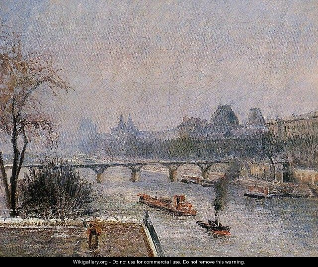 The Louvre - Morning, Snow Effect - Camille Pissarro