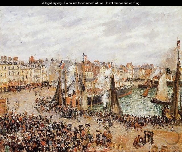 The Fishmarket, Dieppe: Grey Weather, Morning - Camille Pissarro