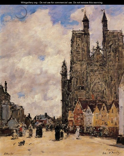 Abbeville, Street and the Church of Saint-Folfran - Eugène Boudin