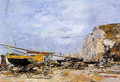 Etretat, Boats Stranded on the Beach - Eugène Boudin